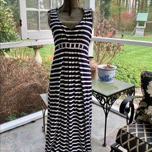 BODEN Navy White Stripe Empire Waist Maxi Dress 6P